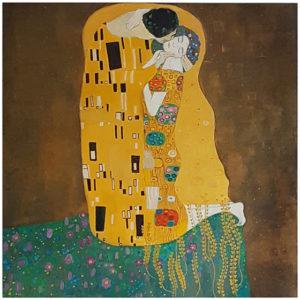"""""""Pocełunek"""" 2015 olej i akryl na płótnie. Kopia obrazu Gustava Klimta"""